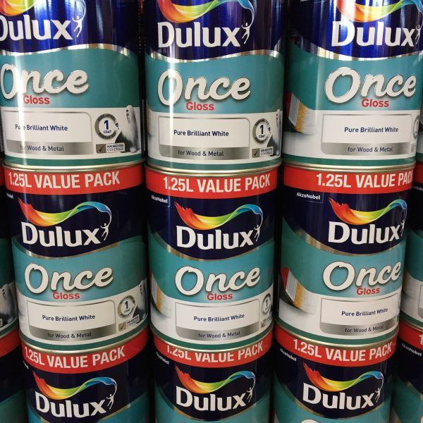 Dulux Once Pure Brilliant white gloss paint 1.25l